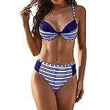 Women Swimwear Padded Push Up Bikini Set Swimsuit Colorblock Stripe Two Piece Bathing Suit Summer Beachwear Bra Top with Triangle Swim Bikini Bottoms Bikini Sets Beach Swimwear