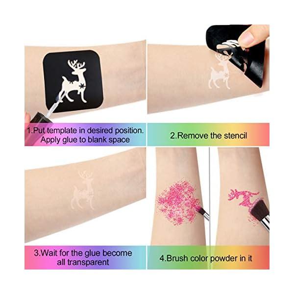 Luckyfine Kit de Tatuajes Temporales, Brillos Corporales, Brillos de Tatuaje – 24 Brillos, 125 Plantillas de Tatuaje, 4…