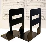 F. Dorla 1paire de serres-livres en métal antidérapant Motif note de musique antidérapant pour bibliothèque, bureau, maison, école... Semiquaver Black