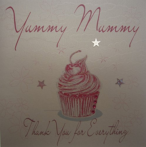 WHITE COTTON CARDS Cupcake Yummy Mummy Thank You For Everything Mother's Day, handgefertigt, Weiß