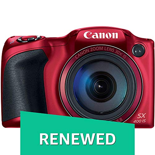 Renewed  Canon PowerShot SX400 Digital Camera with 30x Optical Zoom  Red  Point   Shoot Digital Cameras