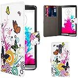 32nd® Funda carcasa Diseño de cuero sintético tipo libro billetera para LG G3, incluye protector de pantalla y paño de limpieza - Colour Butterfly