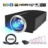 Genmaisima Mini-Videoprojektor 1080P 1800 Lumen Tragbarer LCD-LED-Projektor Heimkino USB HDMI 3D Beamer Bass-Lautsprecher mit 130
