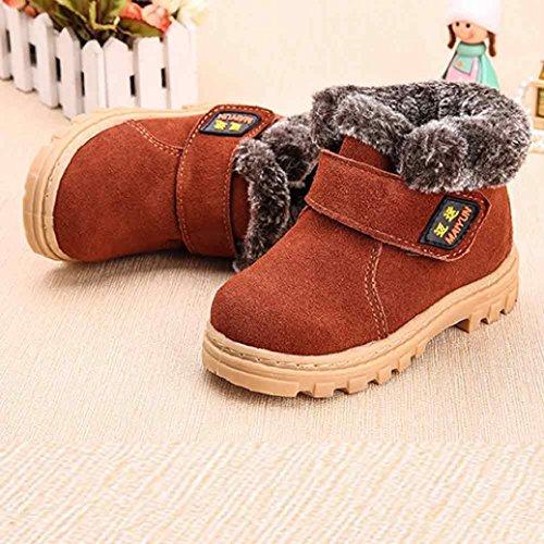 Chaussures de bébé,Fulltime® Bottes de neige chaude hiver enfant Style coton Boot Marron