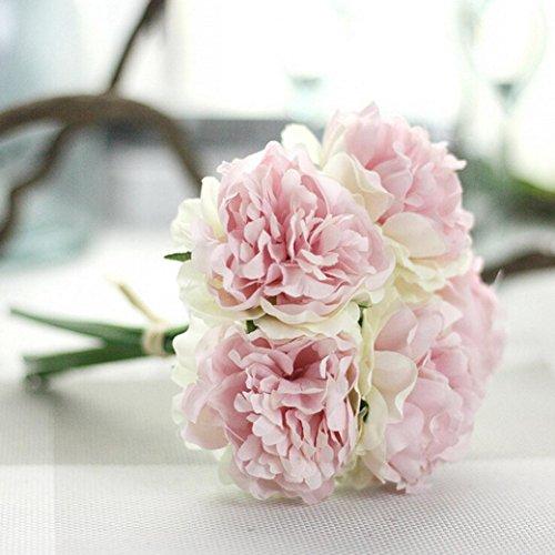 Longra Wohnaccessoires & Deko Kunstblumen Künstliche Seide Kunstblumen Pfingstrose Blumen Hochzeit Bouquet Braut Hortensie Dekor (A)