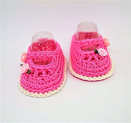 Baby girl booties, Crocheted baby shoes, Mary Jane Shoes, Summer shoes, Newborn baby booties, Flower shoes, Baby rose shoes, Baby girl shoes (3 - 6 months)