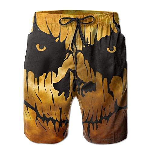 Halloween Scary Face Moon Mens Beach Pants Swimming Trunks Quick Dry Board Shorts Lining(XL)