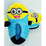 "Despicable Me 2 Plush Stuffed Men's Women's Unisex Slippers Smile Soft Toy Minion 11"" Adult Shoes Free size fit 34-42 (3D Eyes Not Available) (Kids Minion Bob Slipper)"