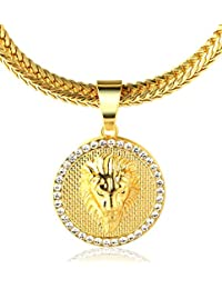 """Halukakah """"KINGS LANDING"""" 18k Real Gold Plated Lion Pendant Necklace,with FREE SharkTail Chain 30"""""""