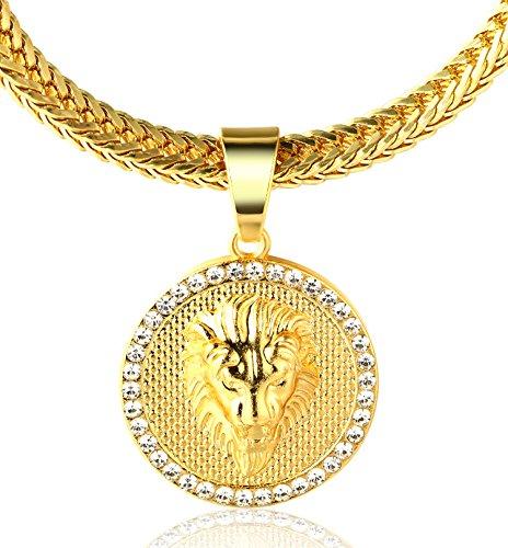 """Halukakah ● Kings Landing ● Männlich In 18 Karat Vergoldetete Krone Löwe Anhänger Halskette mit Kostenloser Fischschwanz 30\""""/75cm Kette"""