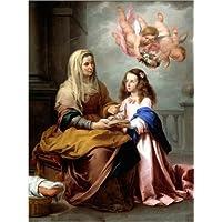 POSTERLOUNGE Póster 60 x 80 cm: Santa Ana enseñando Empty a la Virgen de Bartolome Esteban Murillo - Impresión Artística de Alta Calidad, Nuevo Póster Artístico