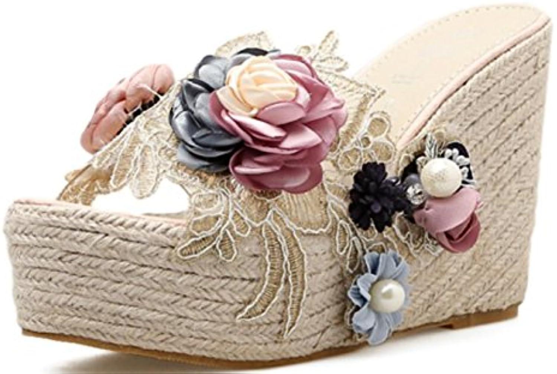 LINYI MUJERES Sandalias De Cuña De Cáñamo De Estilo De Cuerda Alta Zapatos De Vestir De Verano Zapatos De Playa...