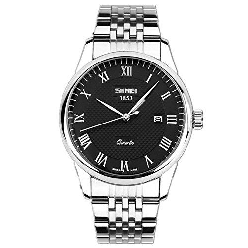 BIAOSHOU® Reloj Hombres De Cuarzo Plexiglás Espejo A Prueba De Arañazos Calendario Impermeable Banda De Acero Relojes , Black