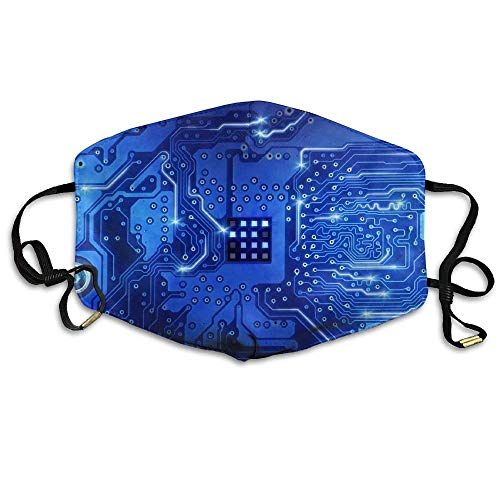 Computer Circuit Board Blue Anti Dust Breathable Face Mouth Mask for Man Woman