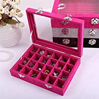 bloatboy 24 Groove Velvet Ring Earrings Display Storage Box Tray Holder(Hot Pink/Black) (Jewelry Collection Box)