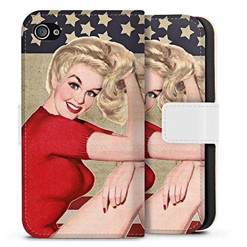 Apple iPhone X Silikon Hülle Case Schutzhülle Amerika Pinup Girl Frau Sideflip Tasche weiß