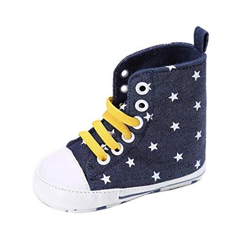 BZLine® Baby Komfort Schuhe Leinwand High-Tops Soft prewalker Anti-Slip Schuhe Sneaker Dunkelblau