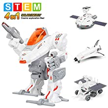Sillbird STEM 4 in 1 Educational Solar Space Robot Toys- Science Building Moon Exploration Kit Toys Set for Kids Aged 8+ Years Old