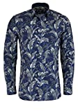 OLYMP No. Six super Slim Hemd Langarm mit Besatz Muster dunkelblau Größe 44