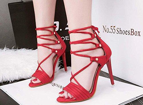 NobS Open Toe Incrociate Cinghia Sandali Tacchi Alti Bow Pompa Stiletto wine red