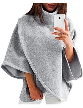 Mujer Pullover Punto Otoño Invierno Elegantes Moda Casual Talla Grande Poncho Mangas De Murciélago Cuello Alto...