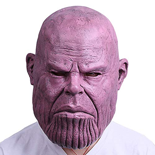 Thanos Masken Halloween Cosplay Kostüm Latex Helm Full Head Movie Replica für Erwachsene Kostümzubehör,A-OneSize (Full Film Der Movie Halloween)