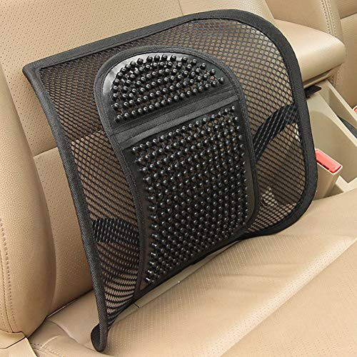 YUSHHO56T Lendenwirbelstütze für Autositze, Zubehör, Lendenwirbelstütze, Rückenmassage, Mesh-Kissen für Auto, Büro, Zuhause, Schwarz - Temporäre Linie