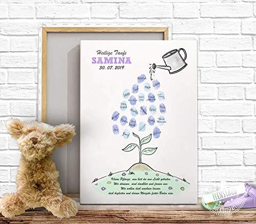 Gästebuch Fingerabdruck-bild für Taufe, Baby-shower Baby-party, Leinwand Fingerabdrücke Tauf-baum