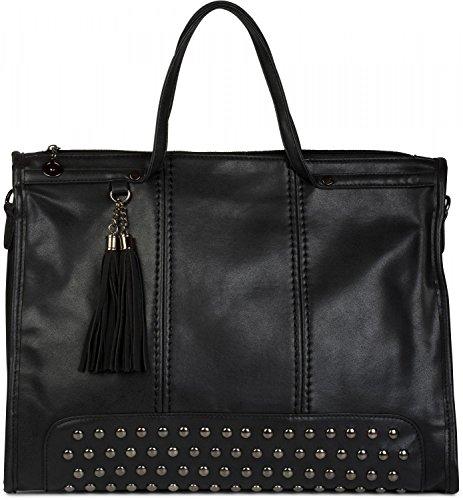 Stylebreaker borsa con manici canvas con borchie e nappe, borsa per lo shopping, borsa a tracolla, borsa a mano, da donna 02012136, colore:nero
