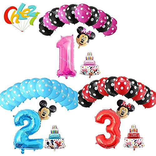 Uniqus Folienballons mit Mickey Minnie Maus Zahl 1 2 3 Folien Ballons Mini Kuchen Globos Baby Shower Geburtstag Party Dekorationsbedarf