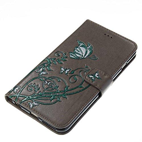 TOYYM iPhone 7 Plus 5,5Zoll Hülle,iPhone 7 Plus Schutzhülle,Ultra Dünn PU Leder Bookstyle Tasche Flip Cover Wallet Brieftasche mit Ständerfunktion Kartenfächer Strap,Narcissus Muster Design Klapphülle Grau