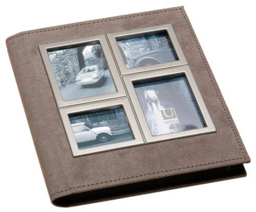 Umbra 308482-253 Horizon Metall und Suede Fotoalbum für 104 Fotos 10 x 15 cm nickel/mushroom - Umbra-foto-album