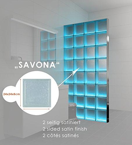 Preisvergleich Produktbild LMW Light My Wall beleuchtete Glassteinwand aus Glasbausteinen in dem Format 24x24x8 cm Gesamtgröße: B 147,0 x H 220,5 cm (Savona 2-seitig satiniert)