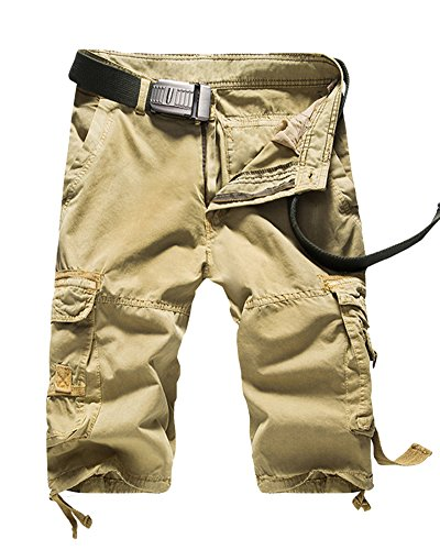 QitunC Mens Casual Slim Fit Loose Solid Multi-Pocket Cargo Camouflage Shorts