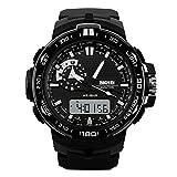 Fenkoo Herren Armbanduhr digital LCD / Kalender / Chronograph / Wasserdicht / Duale Zeitzonen / Alarm / Sportuhr Caucho Band Schwarz Marke- SKMEI (Weiß)