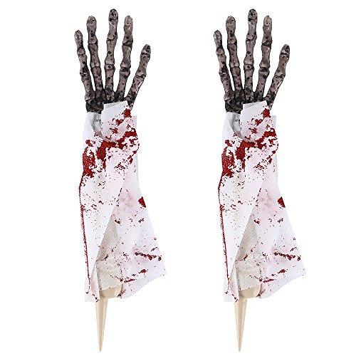 Littlegrasseu Halloween Deko Körperteile Halloween Dekorationen, Hand Fuß und Kopf, gefälscht aber Echt lebensgroß (Hände)