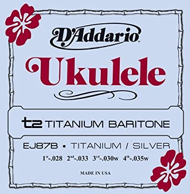 Musical Instrument D'Addario EJ87B Titanium Ukulele Strings, Baritone Music Tool