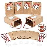MonQi 30 pezzi Alta Capacità Sacchetti di Carta Natalizi con 30 etichette di Natale e nastro di Natale, Facile da Piegare Scatola di Carta Natalizia per Decorazioni per Feste Natalizie(4.5'x 3'x 7')