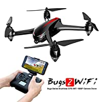 MJX Bugs 2W B2W GPS RC Quadcopter Drone with Altitude Hold, Brushless Motor Headless Mode 2.4G 6-Axis Gyro RC Helicopter With 1080P HD Camera WIFI FPV Drone - Black from MJX