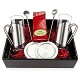 Geschenkidee Geschenke für Frauen - Geschenk Set Kirschtee mit je 2 Teegläsern, Untersetzern und Trinkhalmlöffeln, 1er Pack (1 x 50 g)