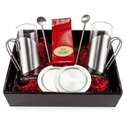 Geschenk Set Kirschtee mit je 2 Teegläsern, Untersetzern und Trinkhalmlöffeln, 1er Pack (1 x 50 g)
