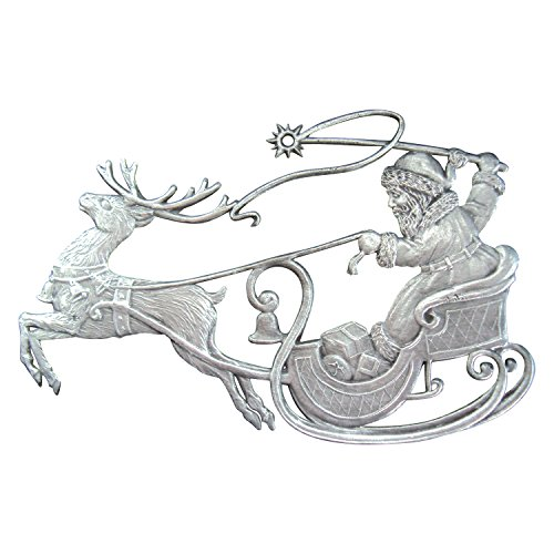 Zinngeschenke Nikolaus im Rentierschlitten patiniert aus Zinn (HxB) 8,0 x 5,5 cm Christbaumschmuck