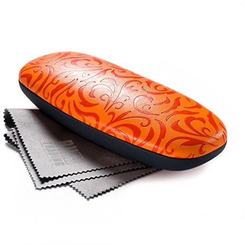 FEFI Hardcase Brillenetui mit geprägten Ornamenten - Metallscharnier und Schnappverschluß - Inklusive hochwertigem Brillenputztuch/Mikrofasertuch (Orange)