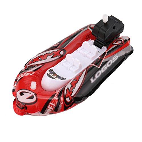 Aufblasbare Mini-Yacht von Mamum, Schwimmspielzeug mit Pumpe, 22 x 17 x 2,5 cm, Kinderspielzeug für Badewanne oder Pool, aufblasbares Motorboot Einheitsgröße rot