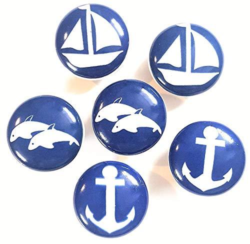 Set von 6 Keramik Knöpfe von französischen Möbelbeschläge (FFF) - Küche Kabinett Knöpfe, Möbel Schublade Griffe - Schwarz & Weiß Porzellan blau Meer Thema (Thema Weiß Und Blau)