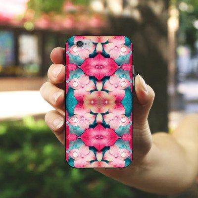 Apple iPhone 4 Housse Étui Silicone Coque Protection Fleurs Fleurs Motif Housse en silicone noir / blanc