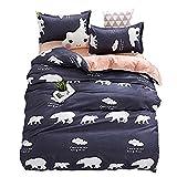 KFZ Bett Set (Zwei Full Queen King Size) [4: Bettbezug, Bettlaken, 2Kissenbezüge] keine Tröster JSD Cartoon Tiere Eisbär Flamingo Dolphin Wizard Design für Jugendliche, Kinder, Erwachsene, Microfaser, Polar Bear, Grey, King 86
