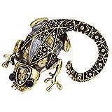 F Fityle 1 Stück Eidechse Tier Stil Kristall Brosche Vintage Brosche Pin Ansteckernadel Sicherheitsnadel Modeschmuck für Unisex - Gold