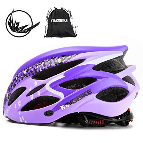 KING BIKE Fahrradhelm Helm Bike Fahrrad Radhelm FüR Herren Damen Helmet Auf Die Helme Sportartikel Fahrradhelme GmbH RennräDer Mountain Schale Mountainbike MTB (lila, L(56-60CM))