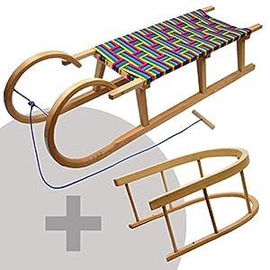 BambiniWelt24 BAMBINIWELT Hörnerschlitten mit Rückenlehne und Zugseil, Sitzfläche aus Kunstfasern im REGENBOGENDESIGN,120 cm